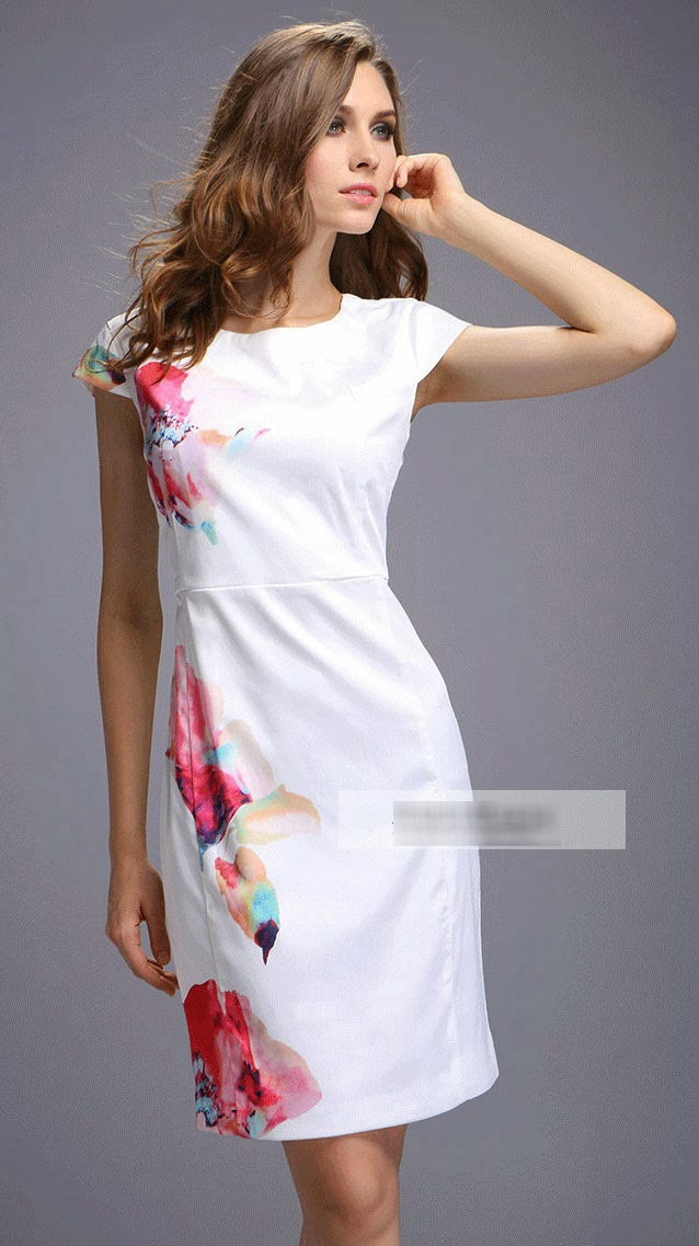 Round Neck Short Sleeve Unilateral Irregular Floral Printing OL Dress