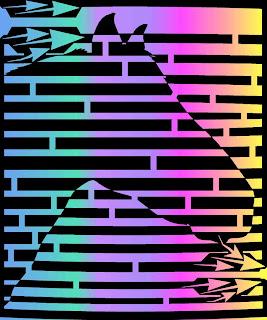 psychedelic op art of horse head maze