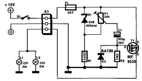 Rear Fog Light Controller With Delay Circuit Diagram