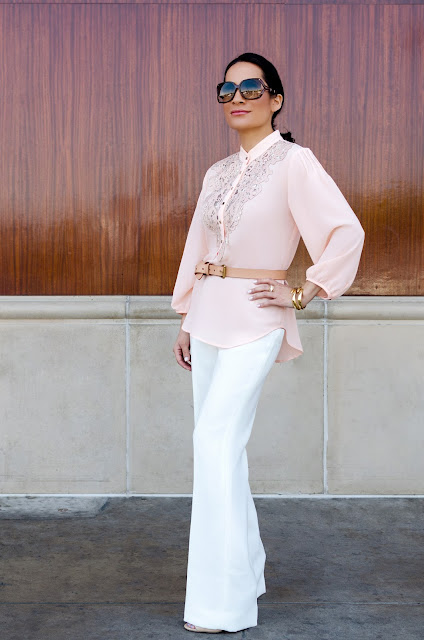 Alberto Makali Pink laser cut leather lace tunic White Wide-Leg Trousers White Wide-Leg Pants Tan Belt Gold Cuff Bracelet  Nine West Tan Ankle Strap Stiletto Heels