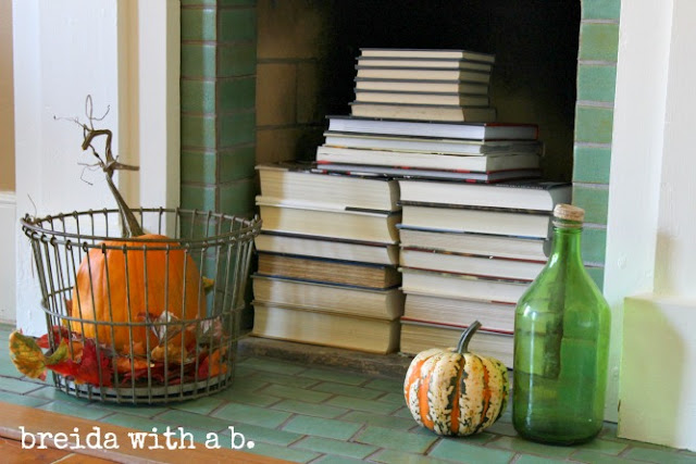 Fall inspired fireplace decorating by breida with a b featured on Funky Junk Interiors