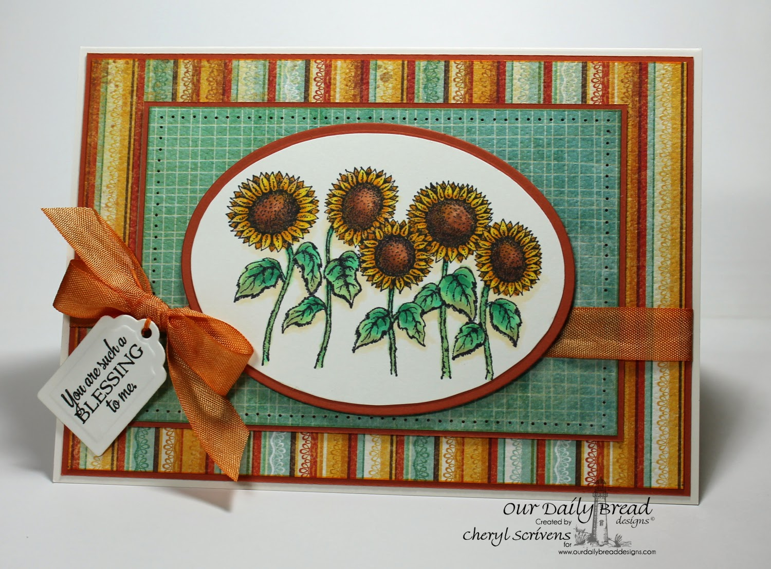 Our Daily Bread Designs, ODBDSLC214, Doily Blessings, Sunflowers, Recipe & Tags Dies, CherylQuilts, Designed by Cheryl Scrivens