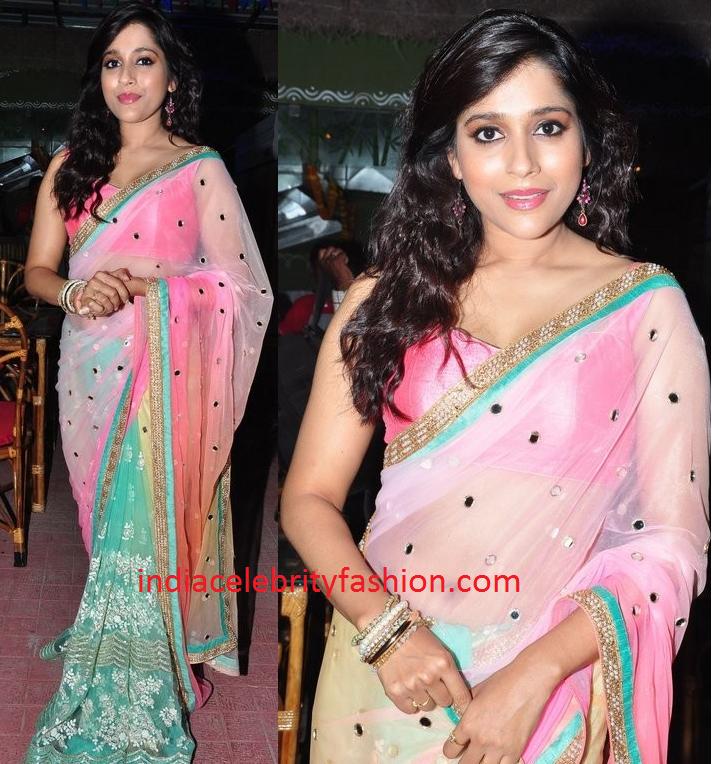 Rashmi Gautam in Half and Half Net Saree