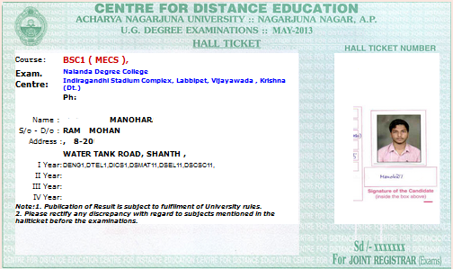 hall ticket for anucde exams