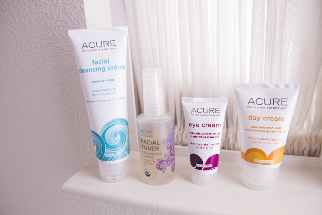 Photo of Acure cleanser, toner, eye cream, and day cream.