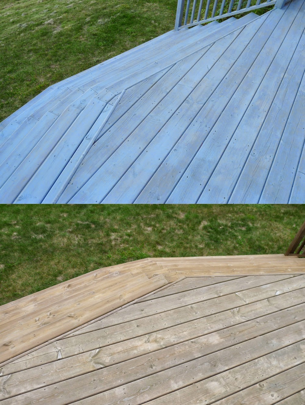 Deck makeover part ii staining pressure treated wood for Pressure treated decking