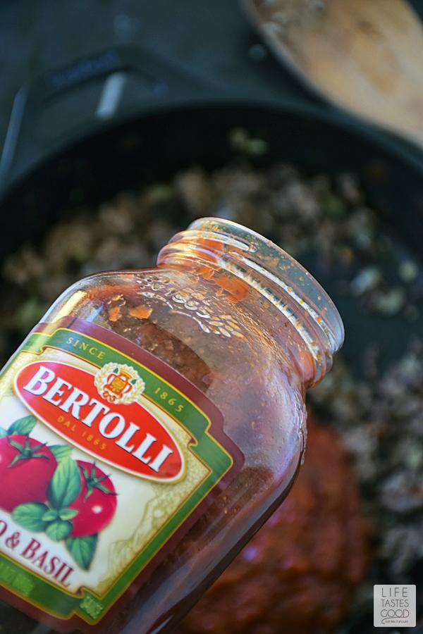 Cheesy Baked Ravioli Skillet | by Life Tastes Good | add sauce