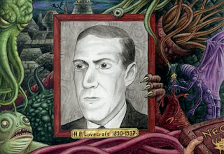 Ilustração de H.P. Lovecraft e os mitos de Cthulhu
