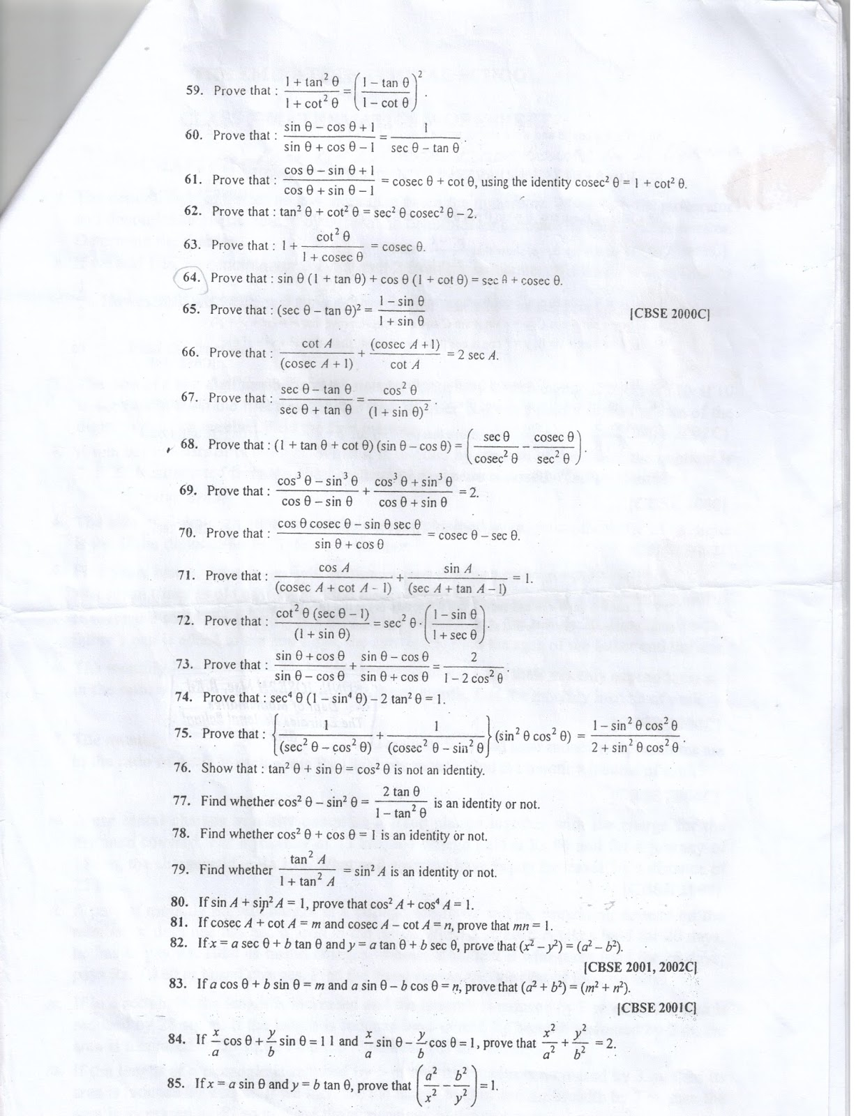 trigonometric identities pdf class 10