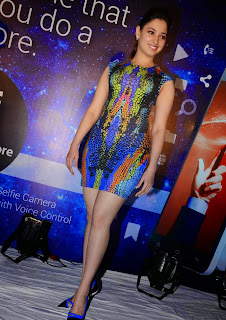 Actress Tamannaah  Picture in Short Dress at Celkon Mobile OCT A510 Launch  116
