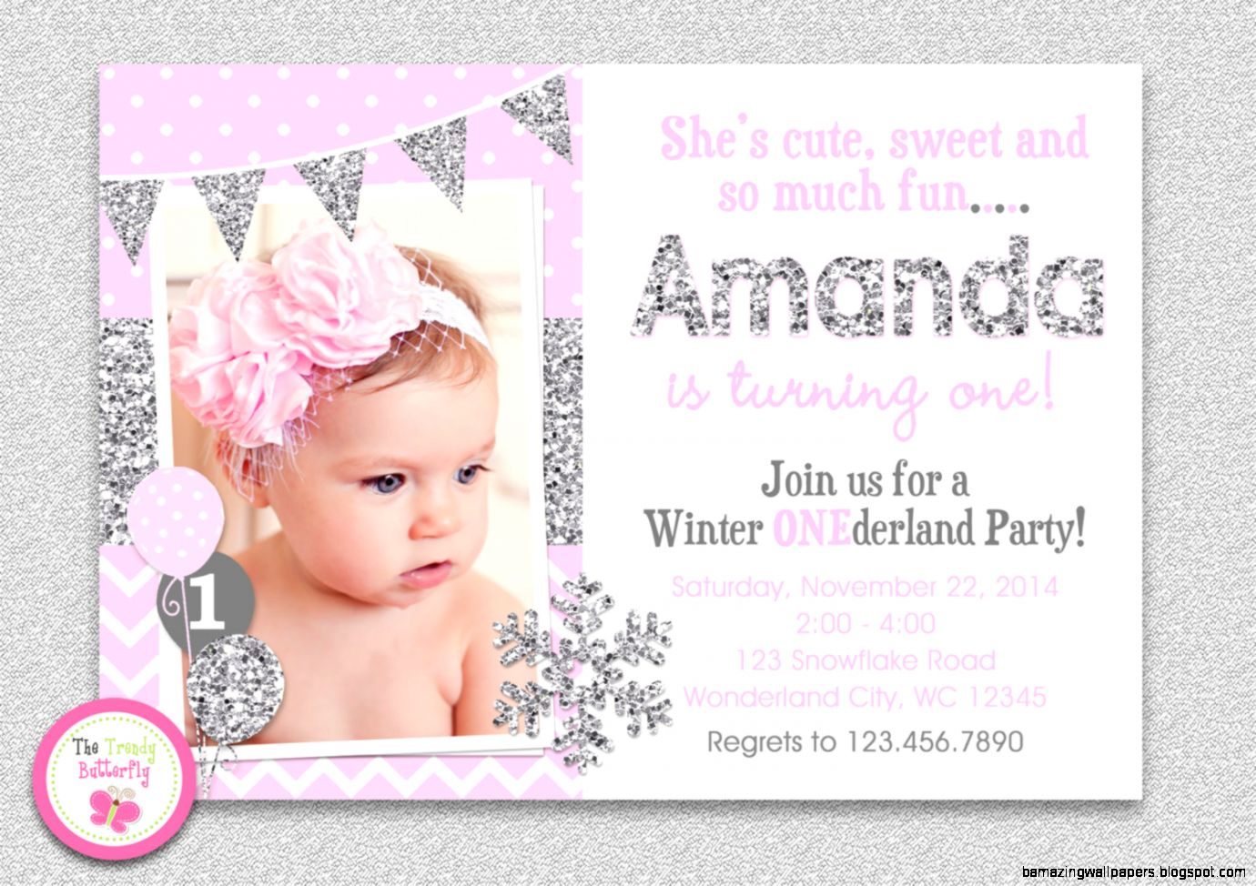 Winter Onederland Birthday Invitations   Invitation Card Design