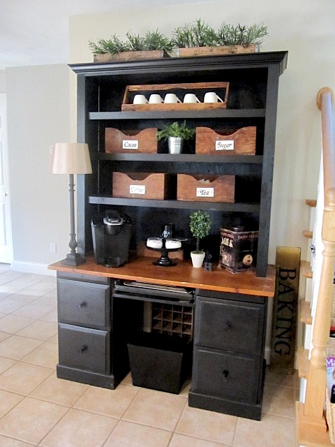 Sew many ways coffee bar for Kitchen coffee bar cabinets
