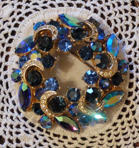 Midcentury blue brooch