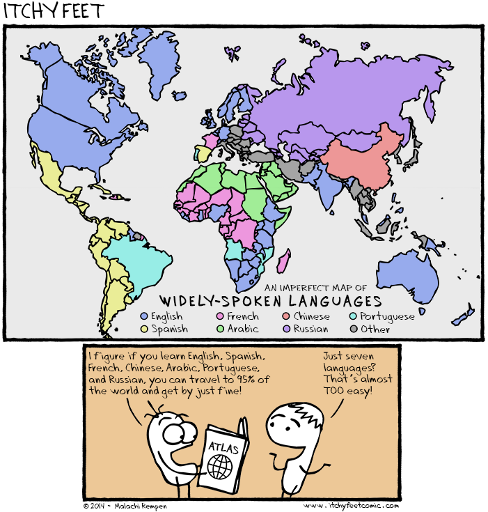 world map of widely-spoken languages