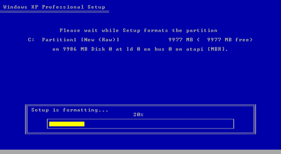 Proses install windows XP dimulai