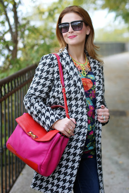 chicwish houndstooth coat, marc by marc jacobs memphis, Fashion and Cookies, fashion blogger