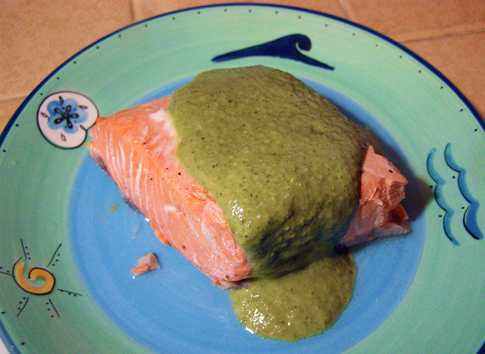 Plate with Pink Salmon and Green Pesto