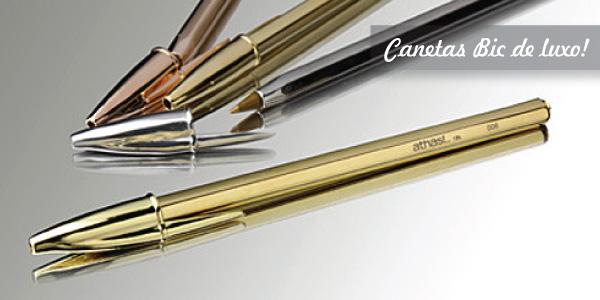 Canetas BIC de luxo, versão Athas banhadas a ouro, prata e aço inoxidavel
