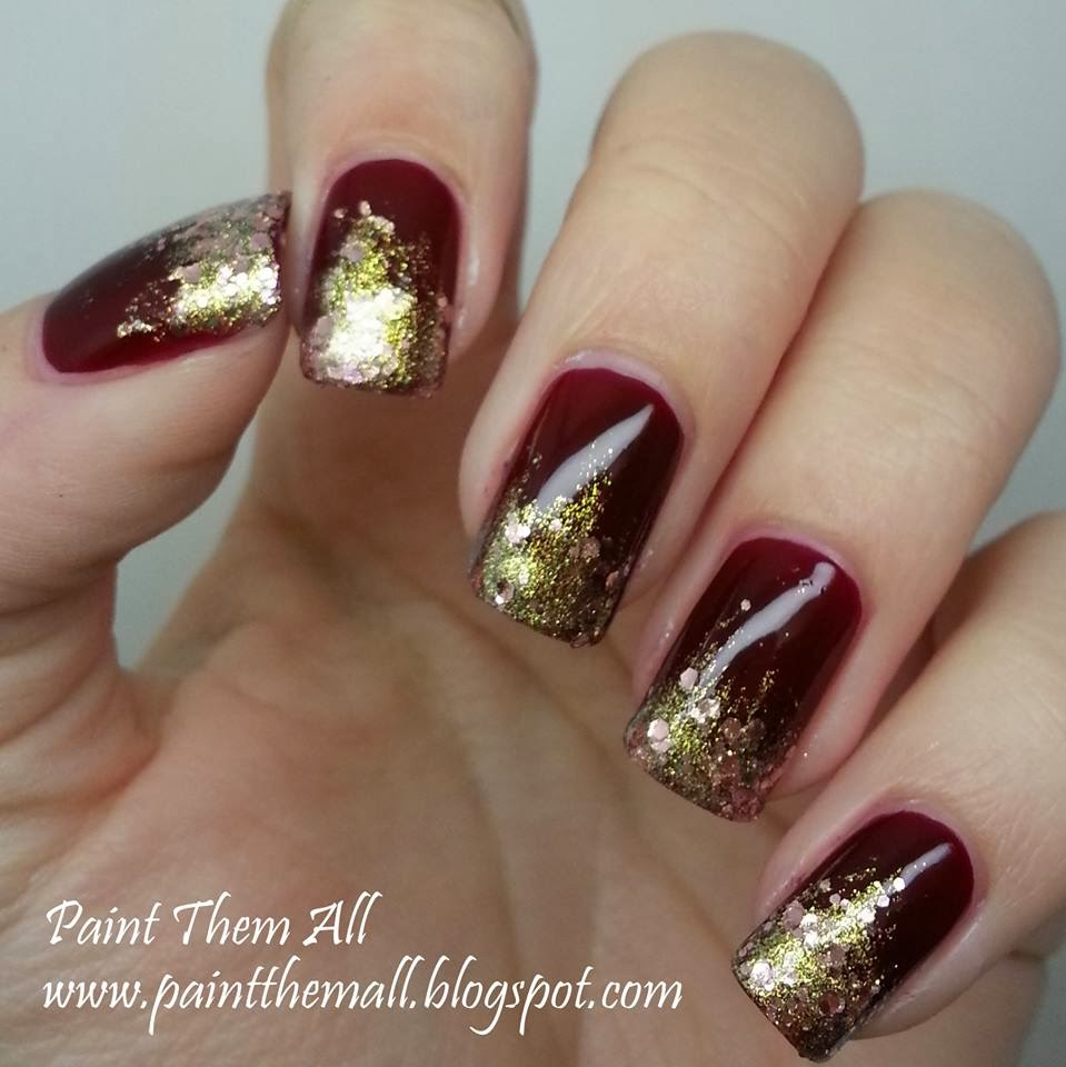 glitter gradient with Essie Skirting the Issue & A-England She Walks In Beauty