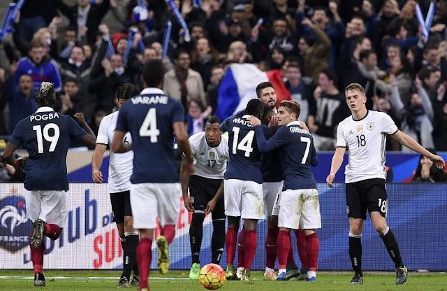 Hasil laga Prancis 2-0 Jerman