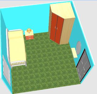 kamar tidur minimalis dilengkapi furniture sederhana