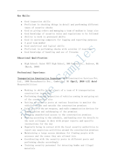 construction inspector resume