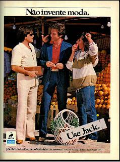 anúncio roupas marca Jack de 1979. moda anos 70; 1971; propaganda anos 70; história da década de 70; reclames anos 70; brazil in the 70s; Oswaldo Hernandez