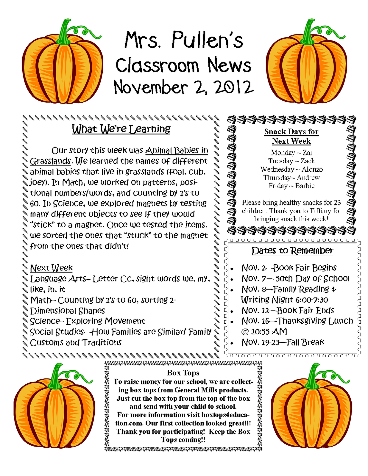 Mrs. Pullen's Kindergarten Class: November 2, 2012 Newsletter