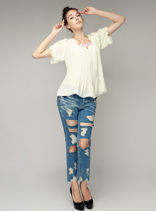 Cut Out Shoulder Pleated Blouse
