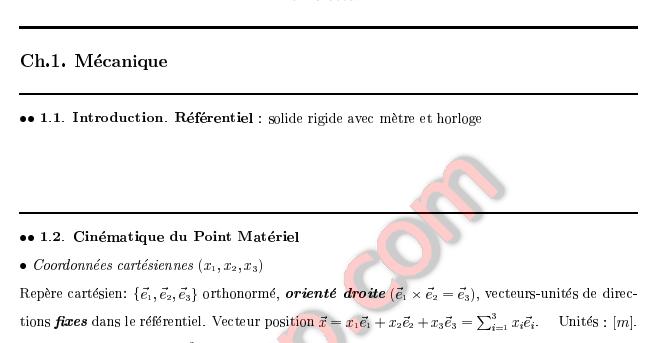 R U00e9sum U00e9 Du Cours M U00e9canique Du Point Et Du Solide