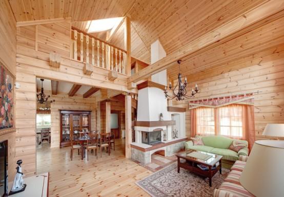 Интерьеры деревянных домов внутри