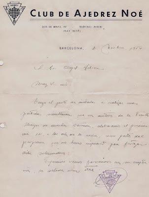 Carta del Club Ajedrez Noé a Ángel Ribera, 1954