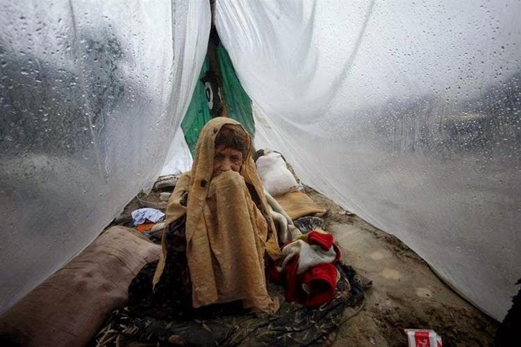 Women Hiding in Rain
