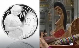 Papa scoate o monedă reprezentând un Idol Păgân