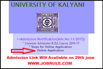 Kalyani University B.Ed Course 2015-17 Common Online Admission Advertisement & Procedure