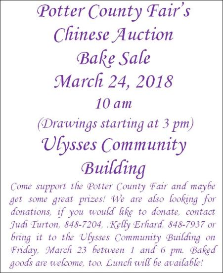 3-24-18 Potter County Fair Chinese Auction & Bake Sale
