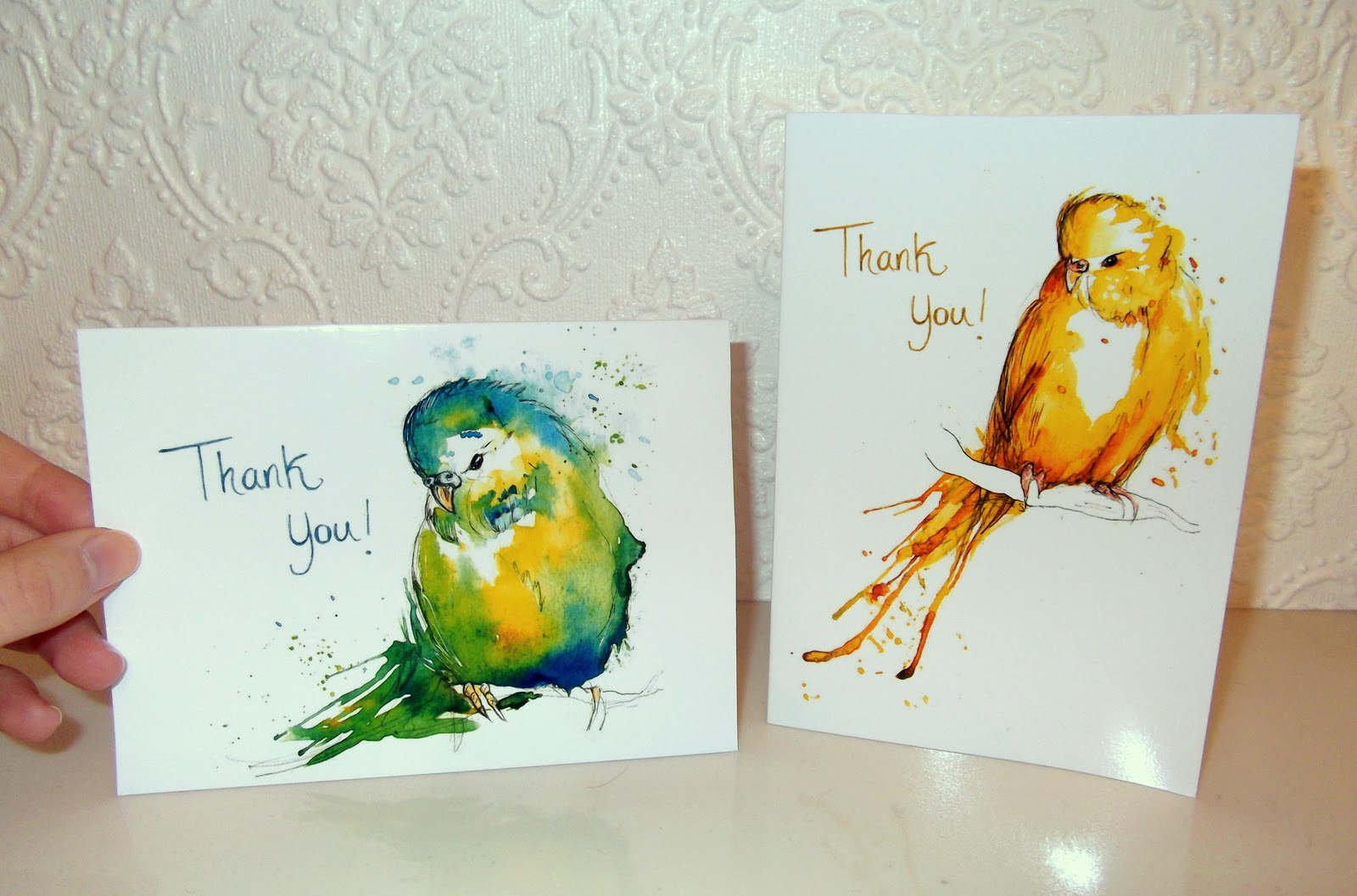 Birthday Cards Paintings ~ Amy holliday illustration budgie thank you cards and a bespoke