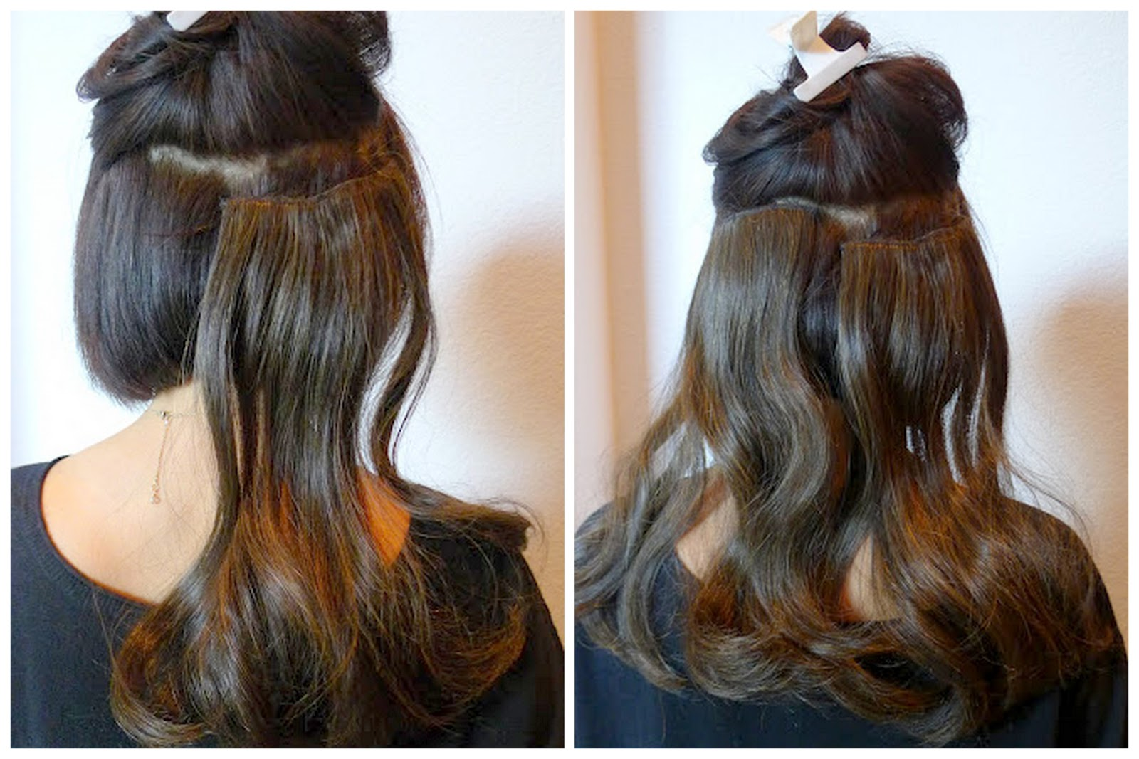 Diy how to put up a chignon when you have short hair prt step 2 let half of the top layer of your hair down covering the hair pieces youve just clipped on then clip on the third hair extension larger piece pmusecretfo Image collections