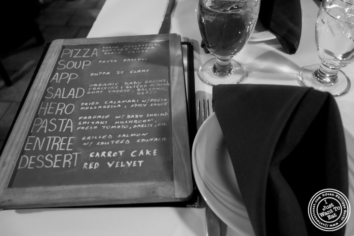image of menu at Lazzara's Pizza and Café in the Garment District, NYC, New York