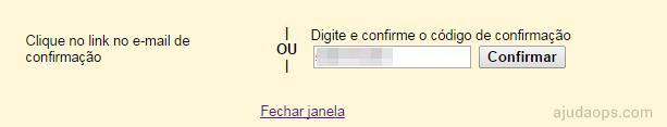 Inserindo código de confirmação para poder enviar e-mail como