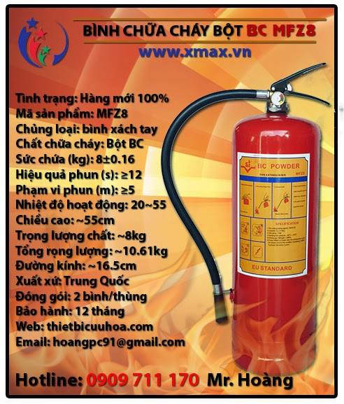 Bình chữa cháy bột BC MFZ8 8kg loại xách tay