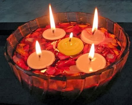 Diwali candles ideas diwali decorations with floating for Diwali home decorations ideas