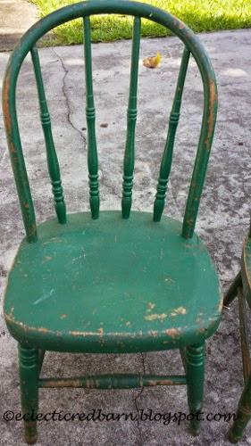 Eclectic Red Barn: Chippy green child's chair
