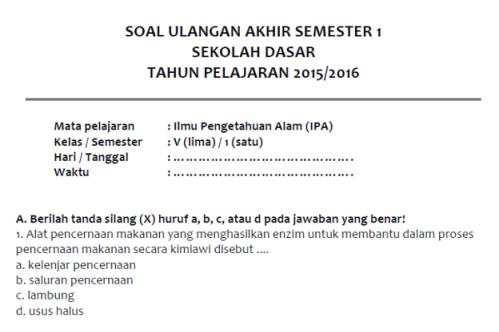 Soal Latihan Uas Ipa Semester 1 Kelas 5 Sd Mi