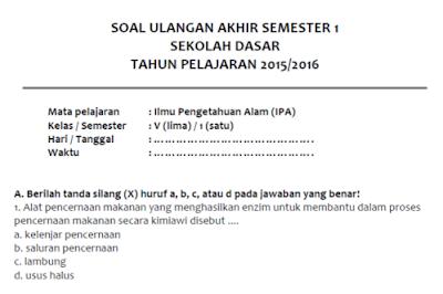 Soal Latihan UAS IPA Semester 1 Kelas 5 SD/MI
