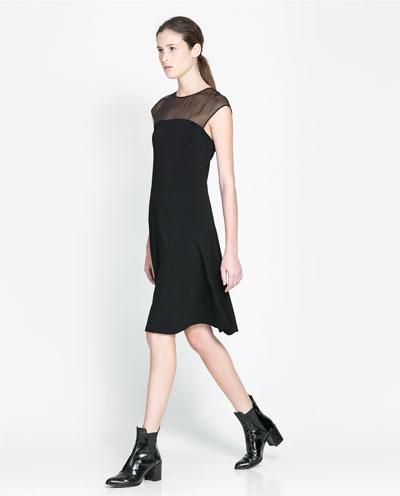 kolsuz transparan siyah elbise