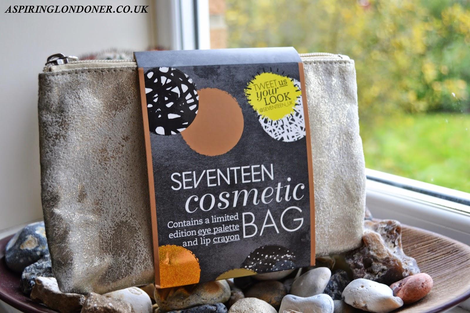 Seventeen Eye Palette and Lip Crayon Cosmetic Bag Review - Aspiring Londoner