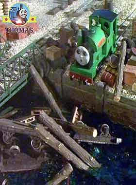 Thomas and friends Peter Sam the train did jet rocket forward splashing the pine logs into the canal