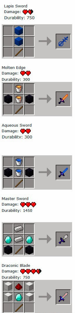 More Swords Mod craftings espadas
