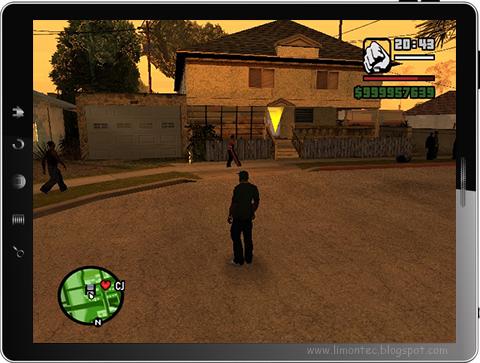 GTA San Andreas rodando em um tablet - Fonte/Reprodução: Limon Tec